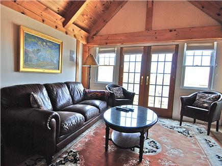 Siasconset Nantucket vacation rental - Entertainment Room with a huge leather couch.