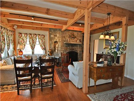 Siasconset Nantucket vacation rental - Beautiful living room with fireplace, nautical books & antiques.