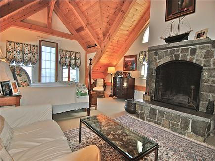 Siasconset Nantucket vacation rental - Master Suite - granite fireplace, 18' timber frame ceiling.