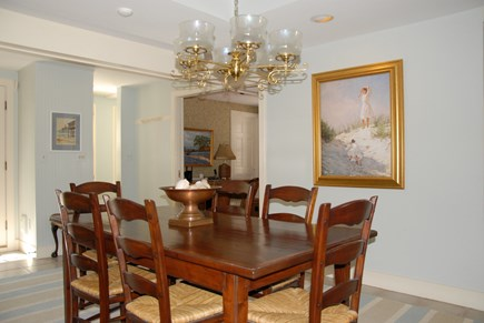 Nantucket town, Nantucket Nantucket vacation rental - Dining area next to kitchen and deck. Buffet, antique chandelier