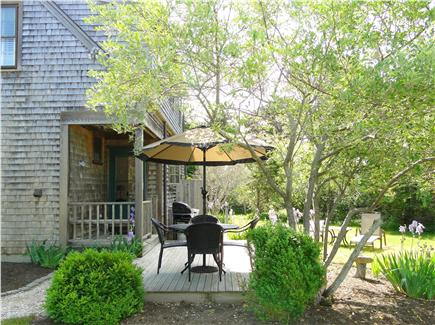 Surfside, Nantucket Nantucket vacation rental - Back deck with seating area, grill, flowering gardens