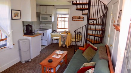 Siasconset Nantucket vacation rental - View of living/dining and kitchen with stairs to loft