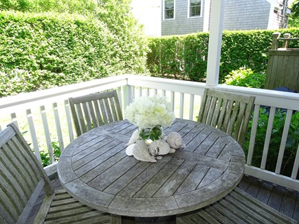 Nantucket town Nantucket vacation rental - Front entrance deck – best spot for lunch!