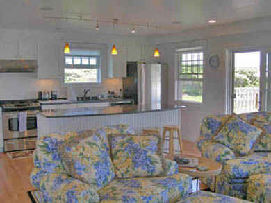 Tom Nevers, Siasconet Nantucket vacation rental - Kitchen and Living Area in Carriage House