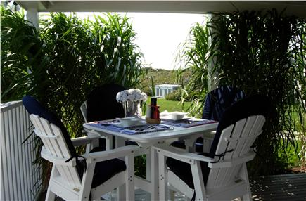Tom Nevers, Siasconet Nantucket vacation rental - Outside Dining Table overlooking Pool