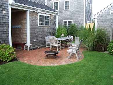 Mid-island - Naushop Nantucket vacation rental - Brick patio/backyard with firepit