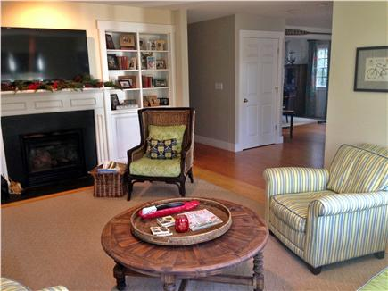 Mid-island - Naushop Nantucket vacation rental - Family room w/ large flat screen TV /DVD and fireplace