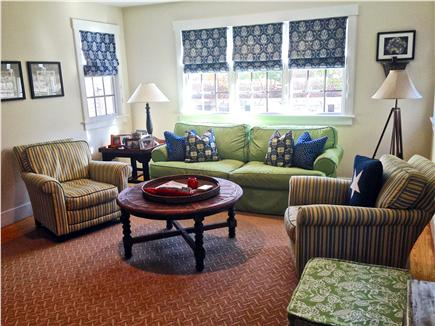 Mid-island - Naushop Nantucket vacation rental - Family room newly painted, new carpet/ furniture, flat screen TV