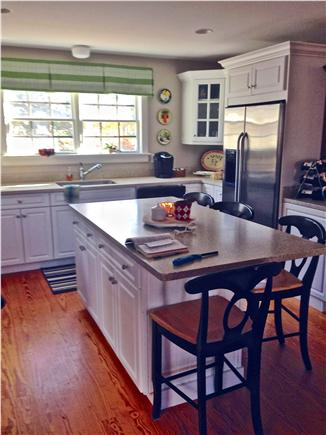 Mid-island - Naushop Nantucket vacation rental - Newly painted kitchen w/ new window treatment and flat screen TV