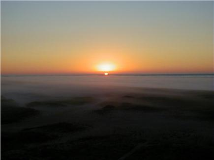 Tom Nevers Nantucket vacation rental - A rare sight - sun rising over the fog
