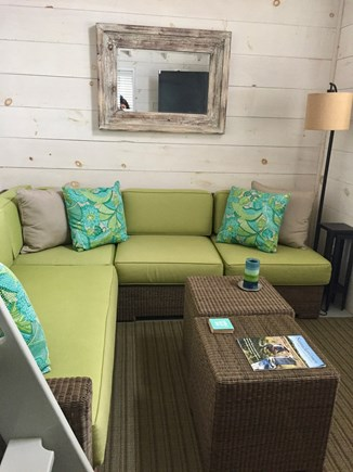Siasconset Nantucket vacation rental - Bonus Room that opens to the patio with a small fridge and big TV