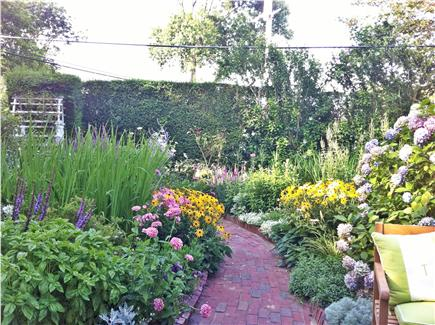 Siasconset Nantucket vacation rental - View of garden sitting on the brick patio