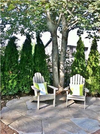 Siasconset Nantucket vacation rental - Shady stone patio under lage maple tree