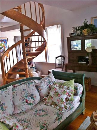 Siasconset Nantucket vacation rental - Handcrafted oak spiral staircase leading to bedrooms and 2nd bath