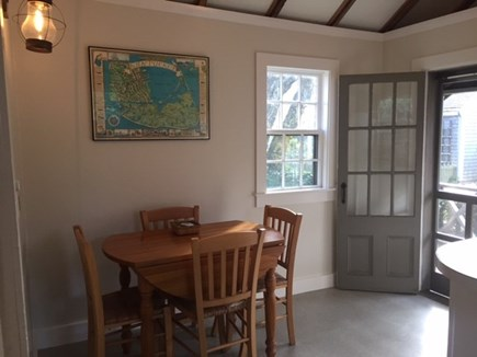 Siasconset Nantucket vacation rental - North Kitchen with separate door to back yard.