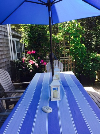 Nantucket Town Lily Street Nantucket vacation rental - Dining Deck Off Great Room with Gas Grill