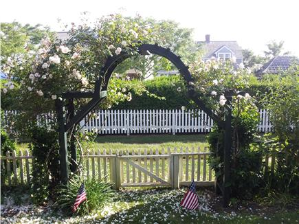 Siasconset, Nantucket Nantucket vacation rental - Front rose-covered gate, opens to grass lane to beach.