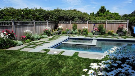 Tom Nevers, Nantucket Nantucket vacation rental - Pool and Spa surrounded by perennial flower garden.