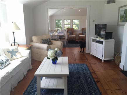 Siasconset Nantucket vacation rental - Bright living room with fireplace
