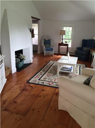 Siasconset Nantucket vacation rental - Living room with cathedral ceiling, fireplace, and sofa sleeper