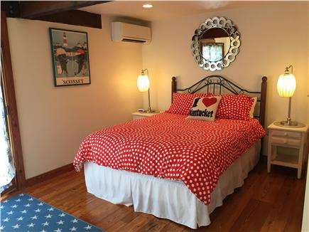 Tom Nevers, Nantucket Nantucket vacation rental - Downstairs Bedroom-Queen size bed, AC unit and door to outside