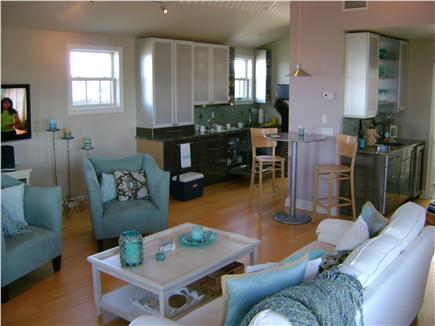 Madaket Nantucket vacation rental - 2nd floor Living Room, cathedral ceiling, wet bar & 1/2 bath.