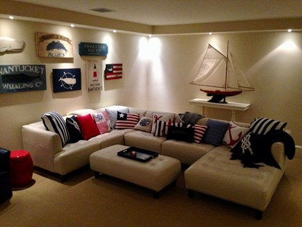 Madaket Nantucket vacation rental - Large Media Room, wet bar, sink, all new leather furniture.