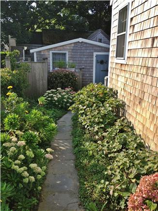 Nantucket town, Nantucket Nantucket vacation rental - Flower lined path to Back Patio and Bunk House