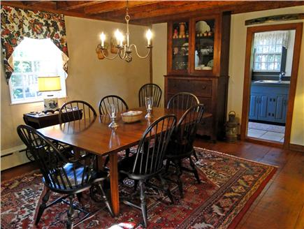 Nantucket town Nantucket vacation rental - Dining area with seating for eight and fireplace