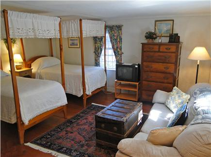 Nantucket town Nantucket vacation rental - Twin bedroom upstairs with couch and TV