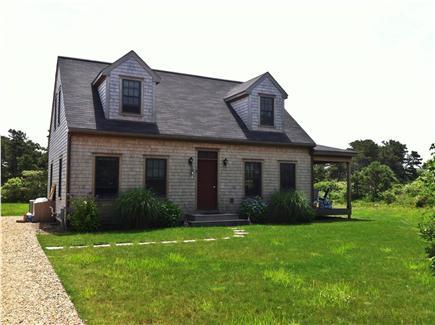 Nantucket town, Nantucket Nantucket vacation rental - 74 Hooper Farm Rd  Front of House.   Gravel drive and grass yard