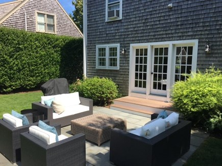 Mid-island, Naushop Nantucket vacation rental - Large, sunny patio ideal for morning coffee and alfresco dining