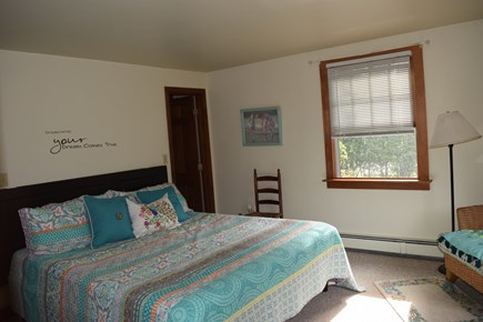 Mid-island Nantucket vacation rental - Master bedroom with walk in closet.