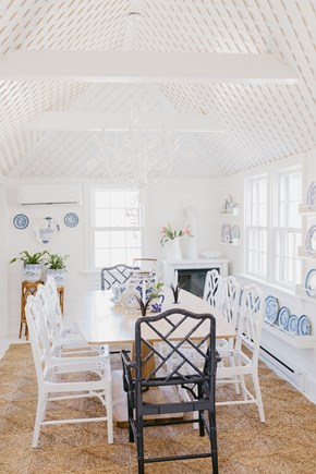 Siasconset, Cod Fish Park Nantucket vacation rental - The curated blue & white dining room seats up to 8 guests.