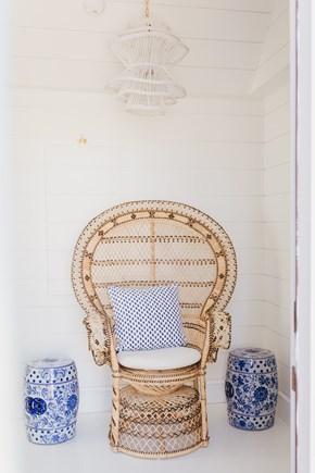 Siasconset, Cod Fish Park Nantucket vacation rental - Vintage fun peacock chair & pair of bleu y blanc pierced Stools