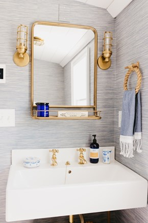 Siasconset, Cod Fish Park Nantucket vacation rental - Nautical half bath with unlacquered raw brass Strom basin taps.