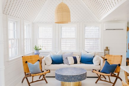 Siasconset, Cod Fish Park Nantucket vacation rental - Enjoy the Coastal Lux living furnishings and lattice ceilings.
