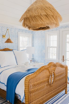 Siasconset, Cod Fish Park Nantucket vacation rental - Master room has a rare vintage Ralph Lauren wicker bed.