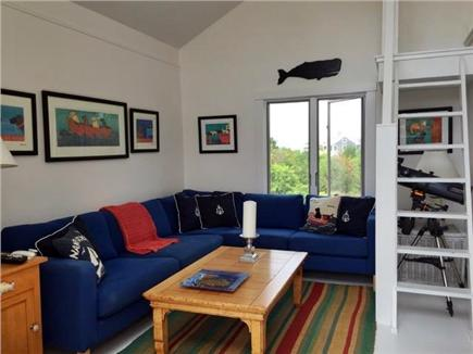 Madaket Nantucket vacation rental - Upstairs living room with stairs to the loft