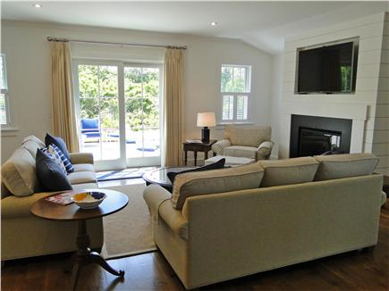 Nantucket town, Cliff Nantucket vacation rental - Living room with comfortable sofas, sliders to patio