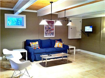 SURFSIDE Nantucket vacation rental - Basement rec room has sleep sofa, wet bar, bath & heated floors