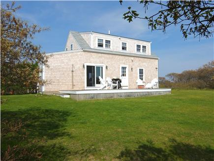 Tom Nevers Nantucket vacation rental - There is a large back deck that overlooks a private yard.
