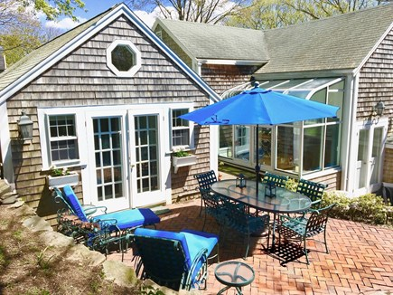 Nantucket Town Nantucket vacation rental - Upper brick patio dining table/umbrella and lounge chairs