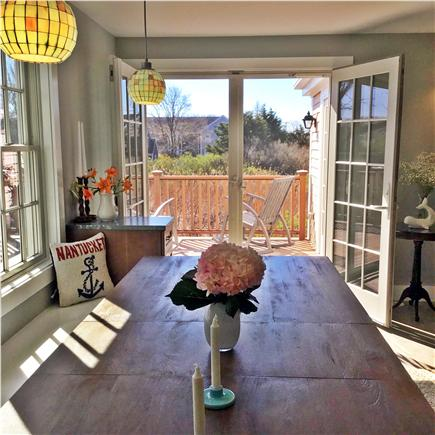 Nantucket town, Town Nantucket vacation rental - Large Dining Table & French doors to the deck