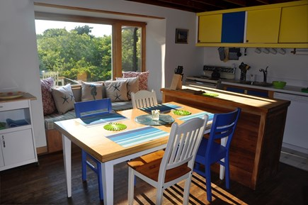Surfside Nantucket vacation rental - Kitchen area and window seat.