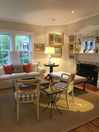 Nantucket town Nantucket vacation rental - Living Room with fireplace, TV, and wifi
