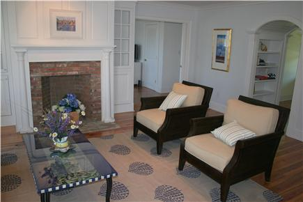 Siasconset Nantucket vacation rental - The living room has comfy couch and chairs.