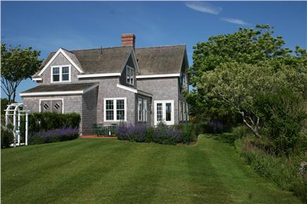 Siasconset Nantucket vacation rental - A view of the side of our Sconset rental house and garden.