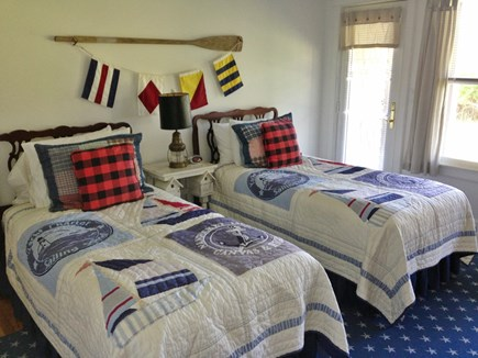 Brant Point Nantucket vacation rental - 1st floor #1 Twin Bedroom with doorway to deck and backyard