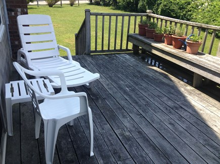 Mid-island Nantucket vacation rental - Side deck: relax and enjoy potted herbs and view of the pond
